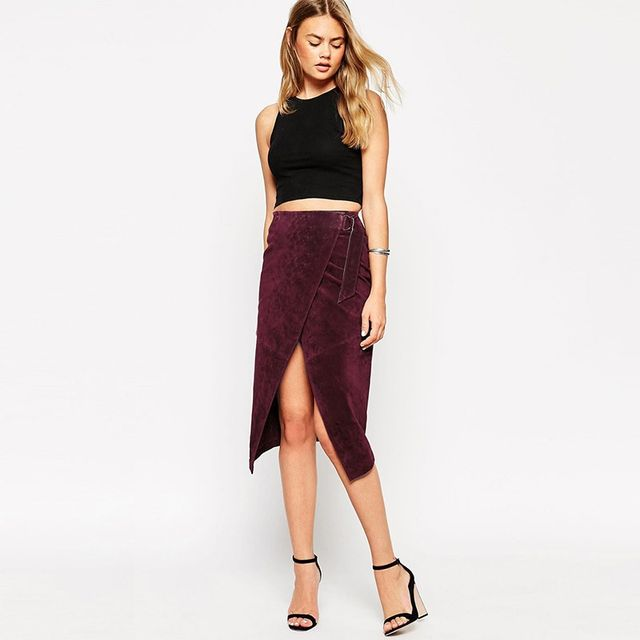ASOS Wrap Midi Skirt In Suede