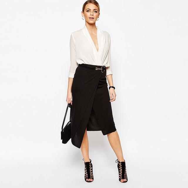 Boohoo Layered Wrap Midi Skirt