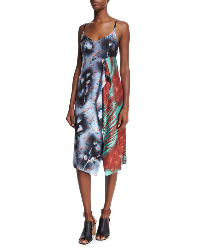 Acne Studios Sleeveless Patchwork Asymmetric Dress