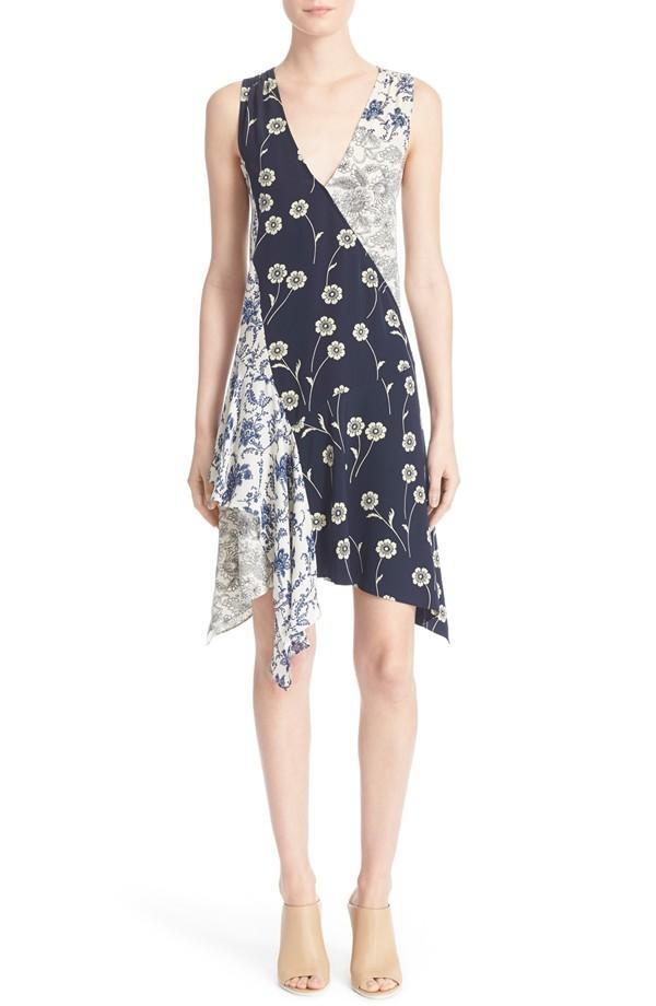 Derek Lam 10 Crosby Asyml Patchwork Silk Dress