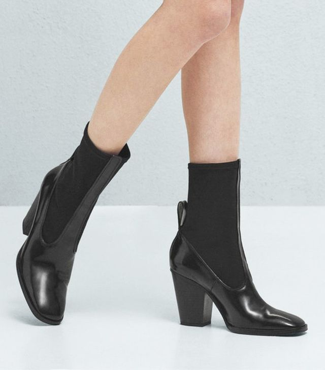 Mango Contrast Materials Ankle Boots
