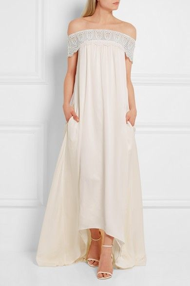 Self-Portrait Bardot Lace-Trimmed Satin Gown