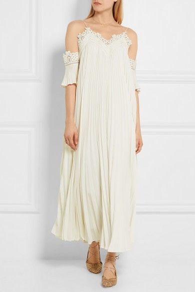 Self-Portrait Off-the-Shoulder Pleated Chiffon Gown