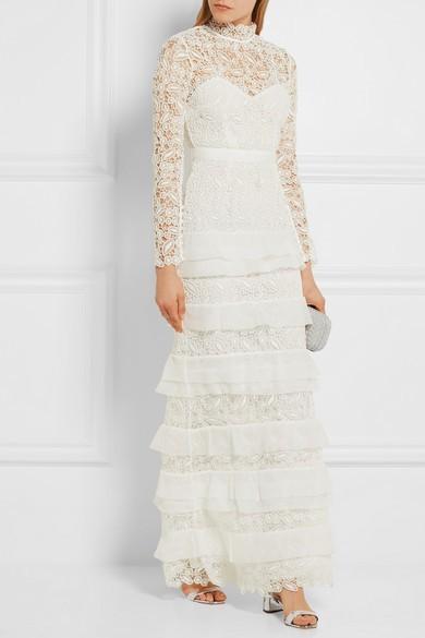 Self-Portrait Primrose Crepon-Trimmed Lace Gown