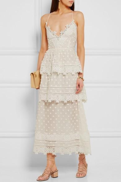 Self-Portrait Guipure Lace-Trimmed Voile Midi Dress
