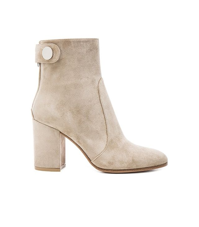 Gianvito Rossi Suede Chunky Heel Boots