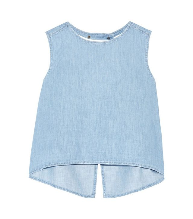 Steve J & Yoni P Split-Back Denim Top