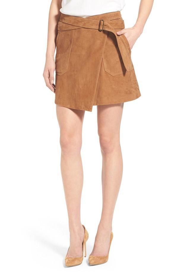 Olivia Palermo + Chelsea28 Suede Wrap Miniskirt