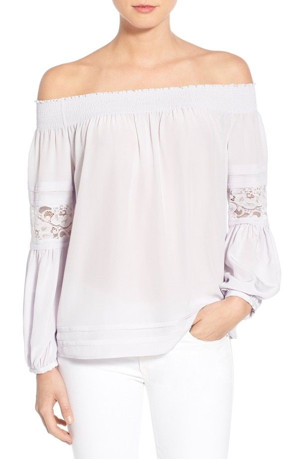Olivia Palermo + Chelsea28 Silk Off the Shoulder Peasant Top
