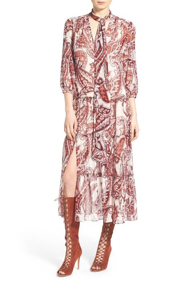 Olivia Palermo + Chelsea28 Tie Neck Peasant Midi Dress