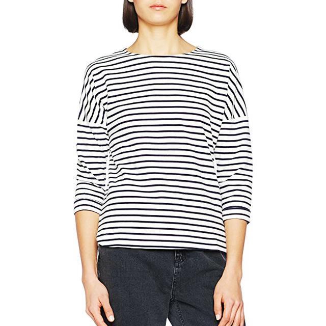 Amazon fashion: New Look Women's Interlock Breton Long Sleeve Top