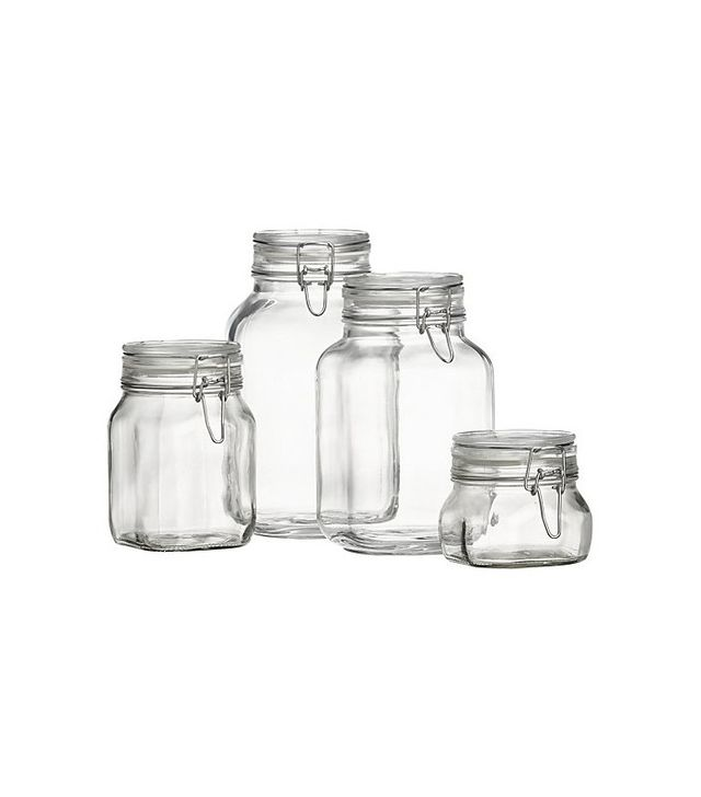 Crate and Barrel Set of 4 Fido Jars with Clamp Lids