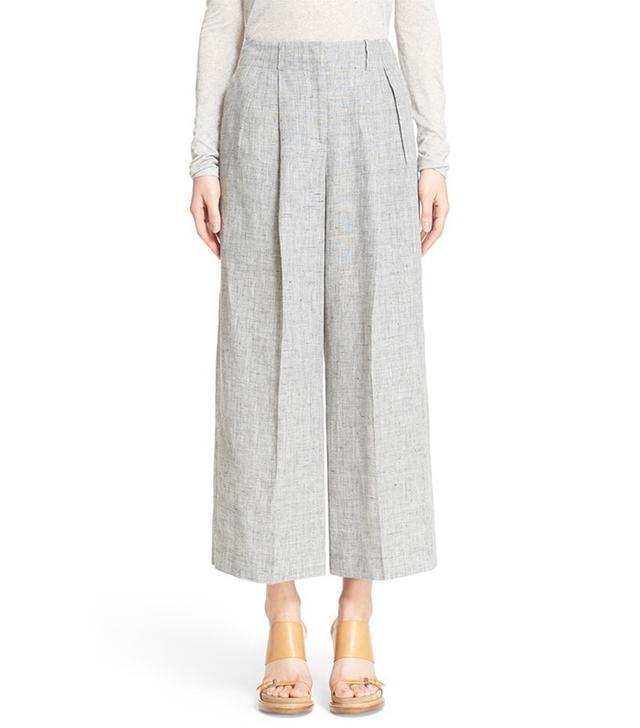 Michael Kors Pleated Crop Linen Pants