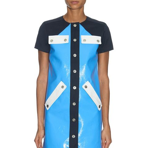 Contrast-Panel Patent-Leather Dress