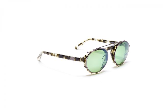 Westward Leaning Dyad With Metallic Evergreen Lenses