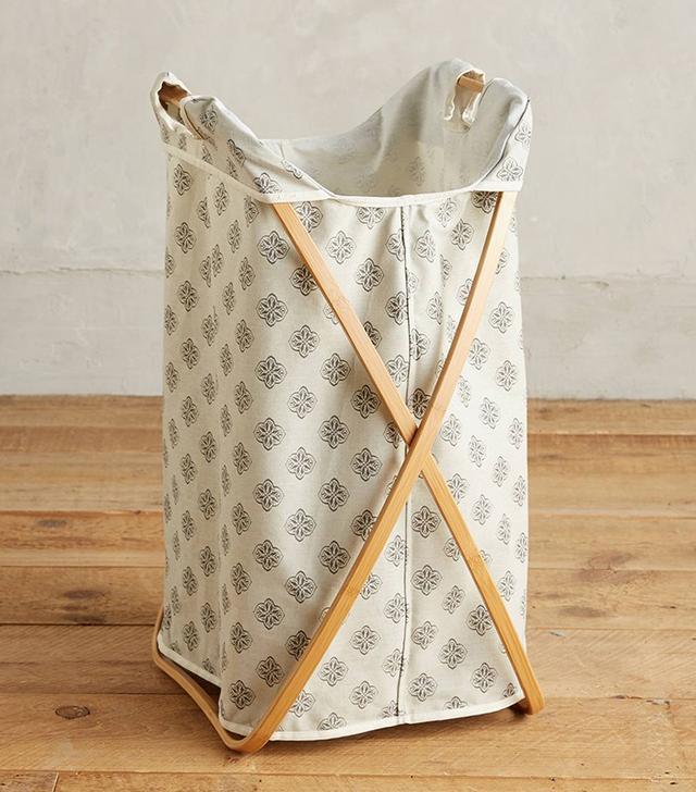 Anthropologie Folding Bamboo Laundry Basket