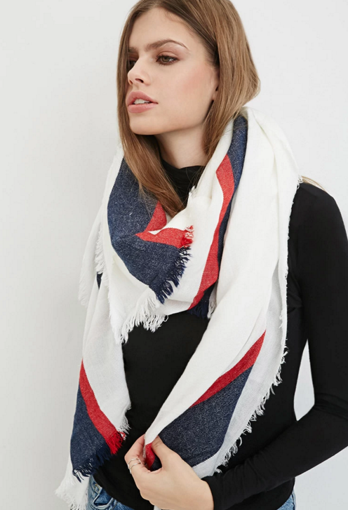 Forever 21 Striped-Trim Frayed Scarf