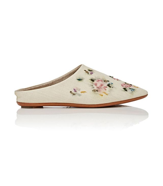 The Row Bea Embroidered Raffia Mules