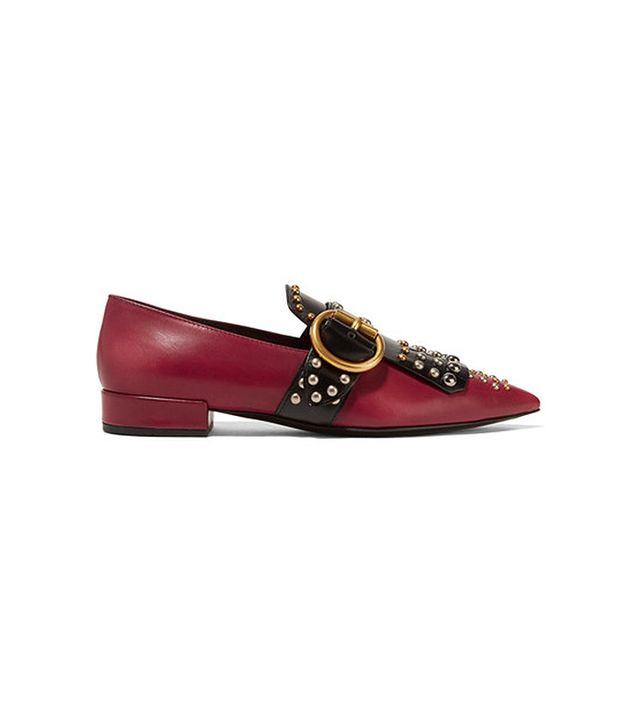 Prada Studded Two-Tone Leather Flats