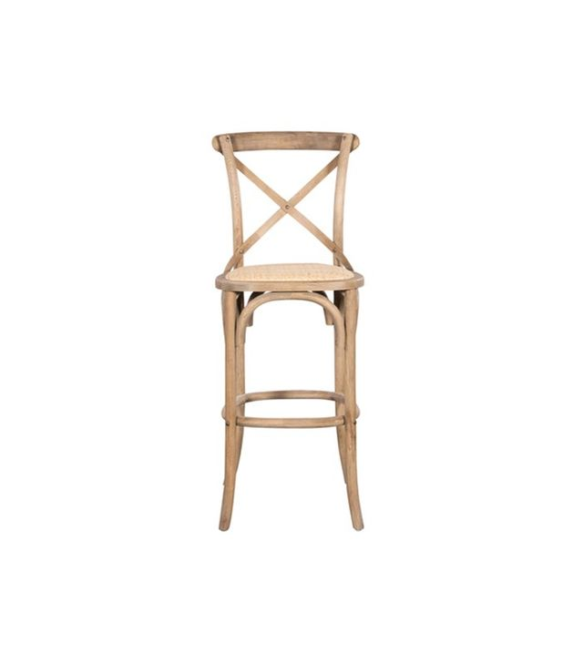 H.D. Buttercup Crossback Cafe Barstool in Weathered Oak