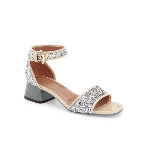 Block Heel Glitter Sandals