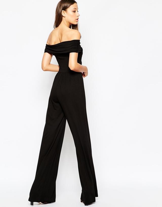 ASOS Tall Jumpsuit With Bardot Neckline & Wide Leg