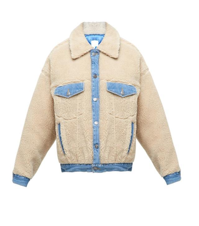 Steve J & Yoni P Denim-Trimmed Faux-Shearling Jacket