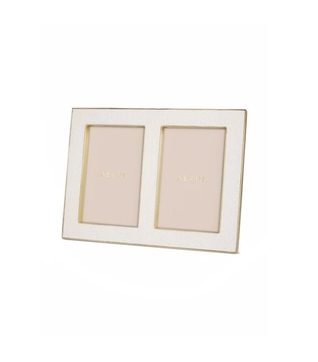 Aerin Cream Shagreen Double Frame