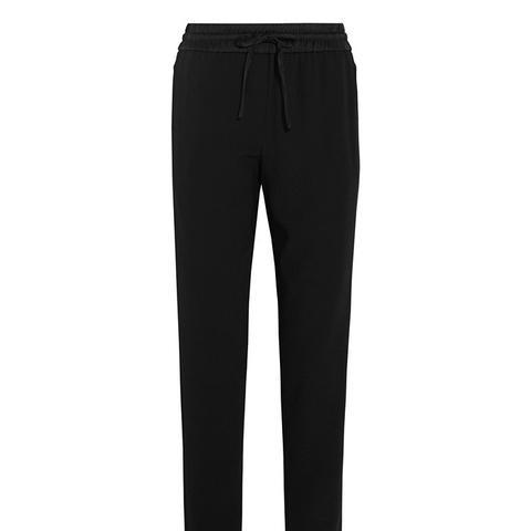 Satin-Trimmed Crepe Straight Leg Pants