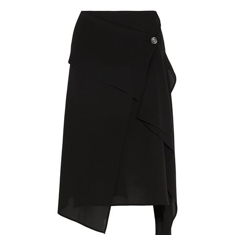 Asymmetric Wrap-Effect Silk-Crepe Skirt