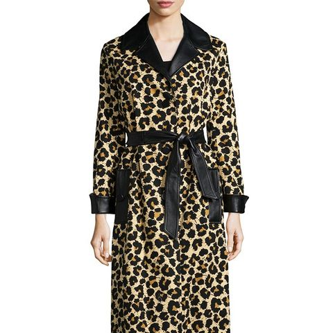 Leopard-Print Trenchcoat With Leather Trim, Leopard Splatter