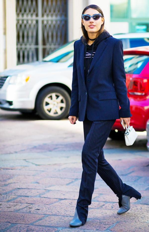 5. Pinstripe Suit + Block Heel Boots + Choker
