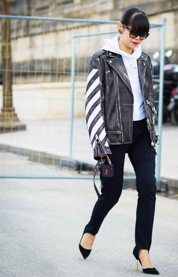 3. Biker Jacket + Trousers + Suede Pumps