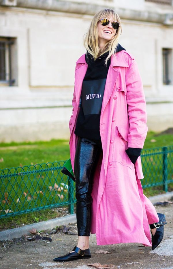 2. Pink Coat + Leather Pants + Edgy Flats