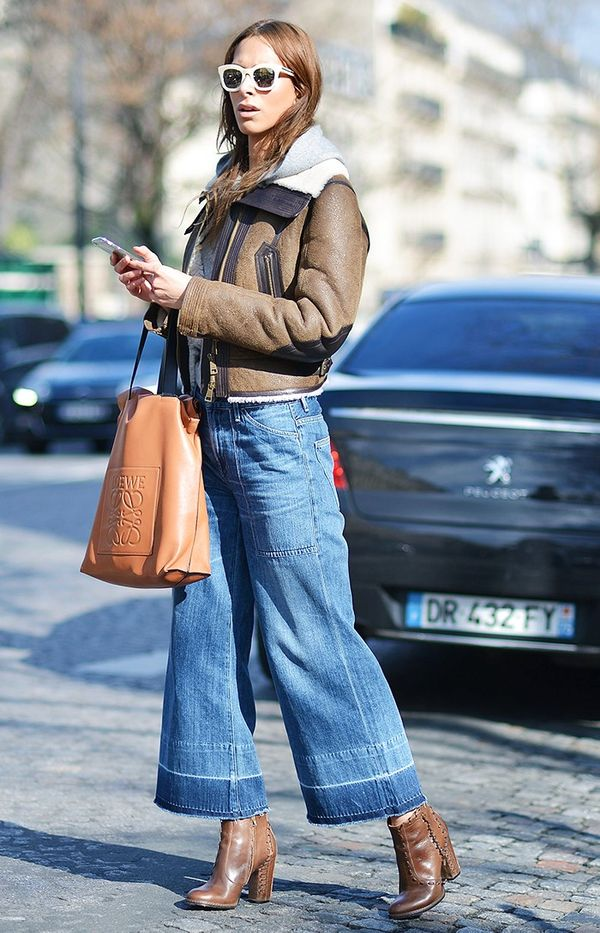 6. Cropped Jacket + Denim Culottes + Ankle Boots