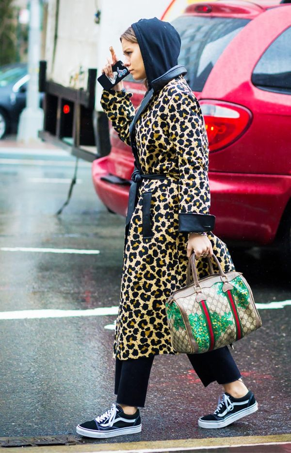 7. Leopard Coat + Wide-Leg Pants + Sneakers