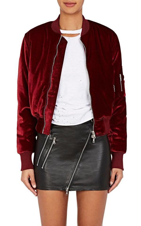 Women's Velvet Bomber Jacket