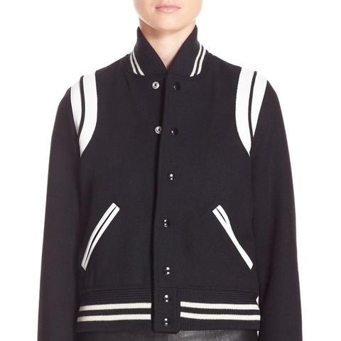 'Teddy' White Leather Trim Bomber Jacket