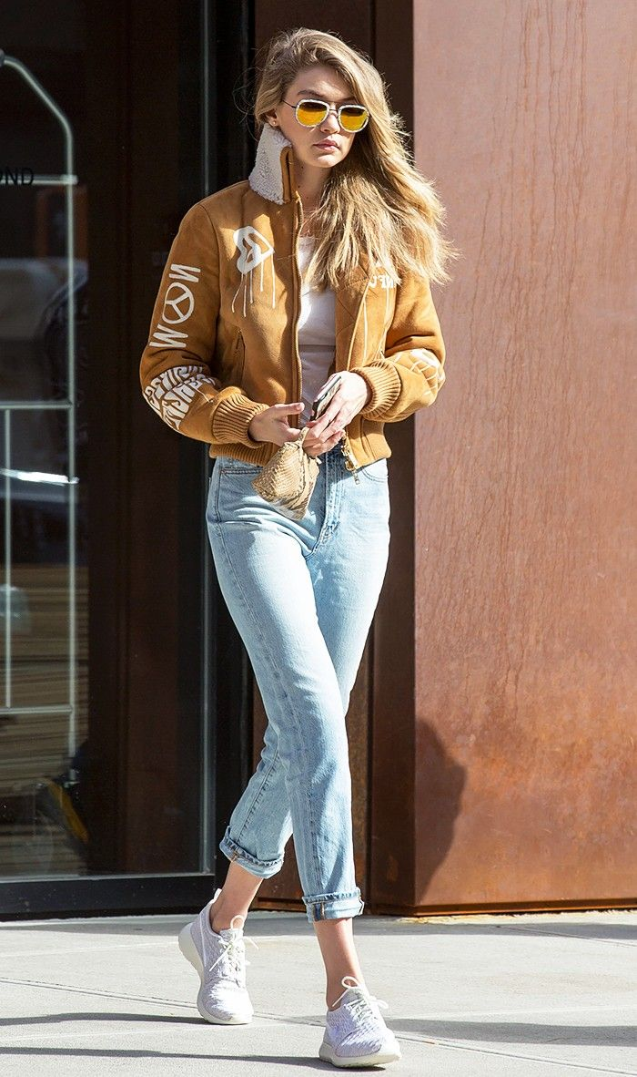 Celebrity bomber jacket outfits