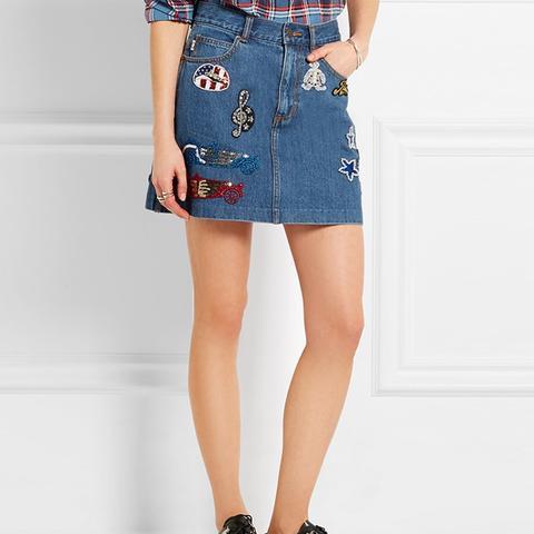 Embellished Appliqued Denim Mini Skirt
