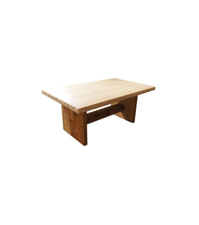 Chairish Marble Top and Wooden Base Dining Table