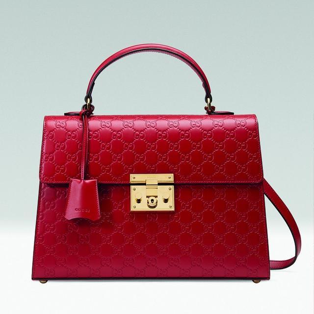 Gucci Padlock Signature Top Handle in Red