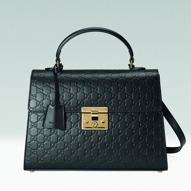 Gucci Signature Padlock Top Handle in Black
