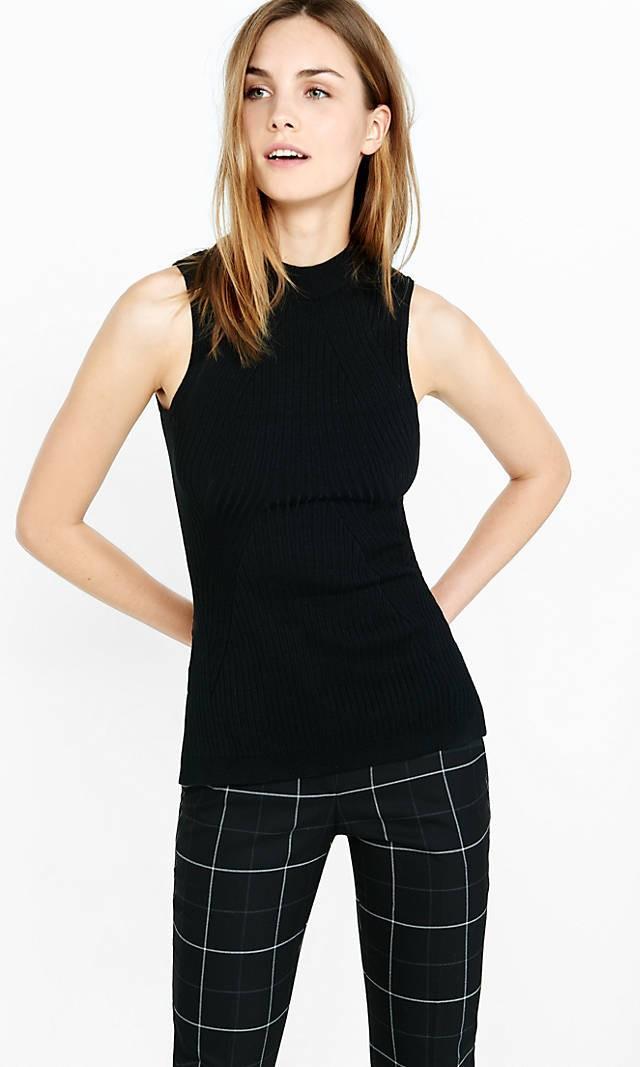 Express Sleeveless Mock Neck Engineered Rib Sweater