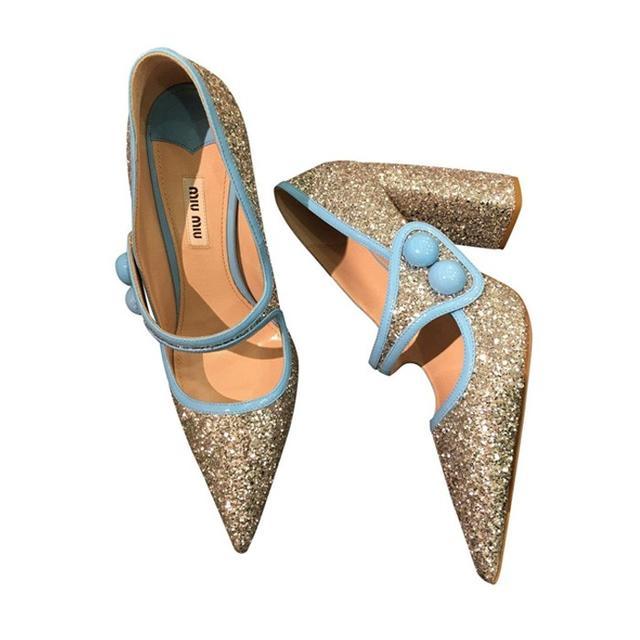 Miu Miu Runway Glitter Heels
