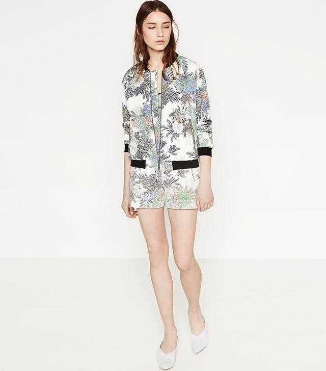Zara Printed Bomber Jacket