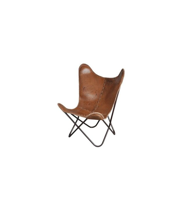 Horizon Anti-Brown Leather Butterfly Chair