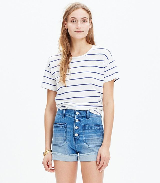Madewell High-Rise Denim Short: Button-Front Edition
