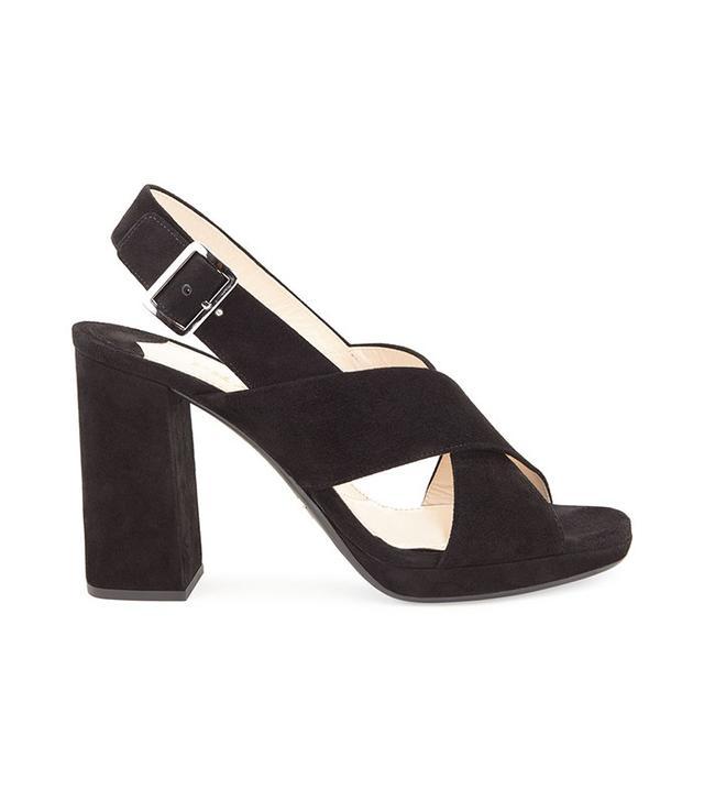 Prada Suede Crisscross Sandal