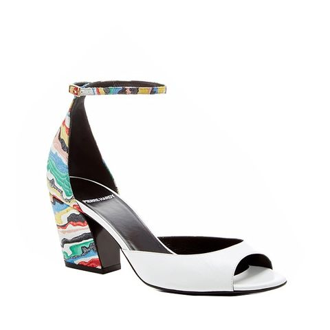 Painted Leather and Suede Sandals